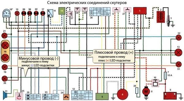 схема проводки скутера