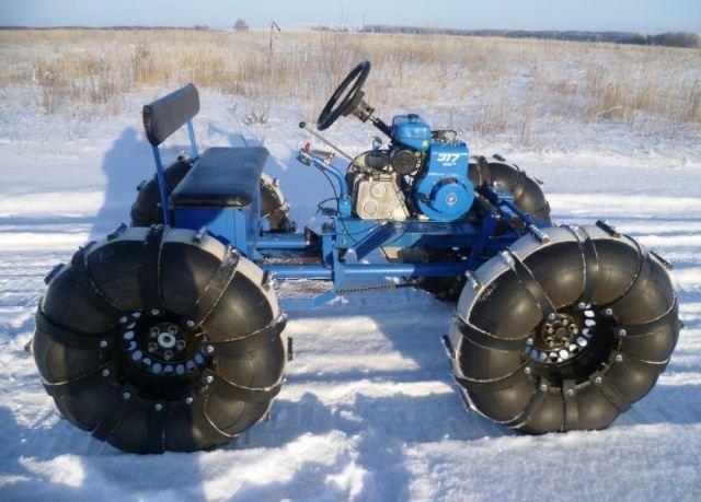Снегоход из мотоблока на колесах