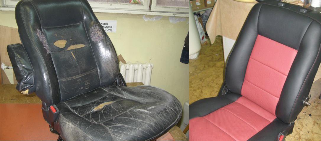 ремонт кожаных сидений автомобиля полное восстановление