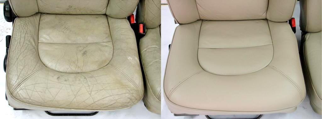 ремонт кожаных сидений автомобиля  прожог