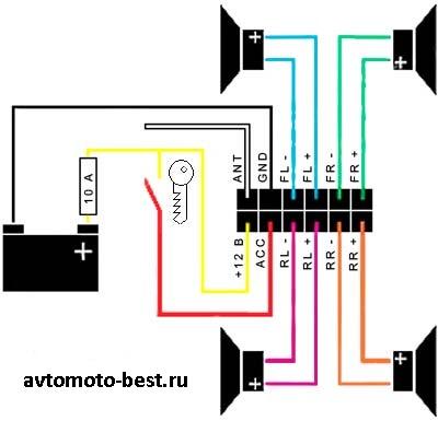 как правильно подключить автомагнитолу - схема